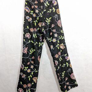 Black Silk Pants Floral Embellished Mod Straight